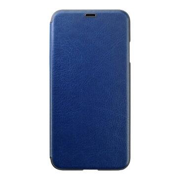 PUC-83 パワーサポート iPhone XS Max用 エアージャケット PUレザー ウォレットタイプケース(ネイビー) Air Jacket