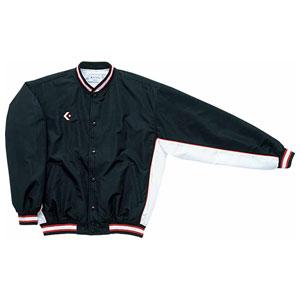 CB482501S-1911-160 コンバース ジュニア ウォームアップジャケット(前ボタン)(ブラック×ホワイト・サイズ:160cm) CONVERSE