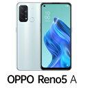 CPH2199IB(RENO5A) OPPO(オッポ) OPPO Reno5 A(SIMフリー版)- アイスブルー 6.5インチ/ RAM 6GB/ ROM 128GB/ 5G対応/ 4眼カメラ/ 防水防塵/ おサイフケータイ/ 指紋認証/ 顔認証