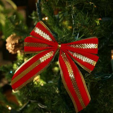 クリスマスレッド ゴールドストライプリボン(ベルベット調)3個入 aks-44726 / クリスマス オーナメント クリスマスツリー ツリー 装飾 飾り【訳あり商品】