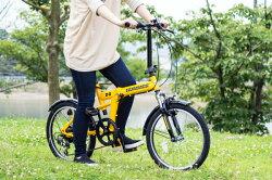 HUMMER FサスFDB206S イエロー【MG-HM206】 / 自転車 サイクリング 【】(北海道・沖縄・離島送料別途) スポーティーなフレームのフロントサス機能搭載モデル! 自転車 折畳 おりたたみ 20インチ 6段変速 フォールディング 送料無料