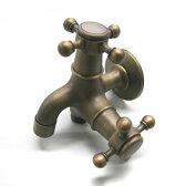 【スマホエントリーでポイント10倍】蛇口 アンティーク調 双口銅製蛇口 / 立水栓 水栓柱 立水栓セット 蛇口 ガーデン