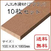 【スマホエントリーでポイント10倍】JJウッド006 (人工木材)断面規格(100×8mm) ブラウン 10枚セット 1800mm / ウッドデッキ 材料 人工木ウッドデッキ フェンス 目隠し 板材 工事