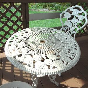 デザインファニチャーさわやかなホワイトのアイアンテーブル椅子セットアイアンテーブル椅子セ...