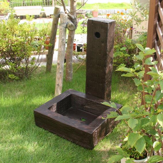 FRP 枕木風水栓ユニットセット(57085-57115) /立水栓 水栓柱 立水栓セット 庭 ガーデニング ユニット