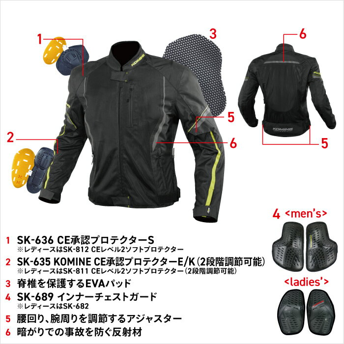 Komine(コミネ)『プロテクトハーフメッシュジャケット』