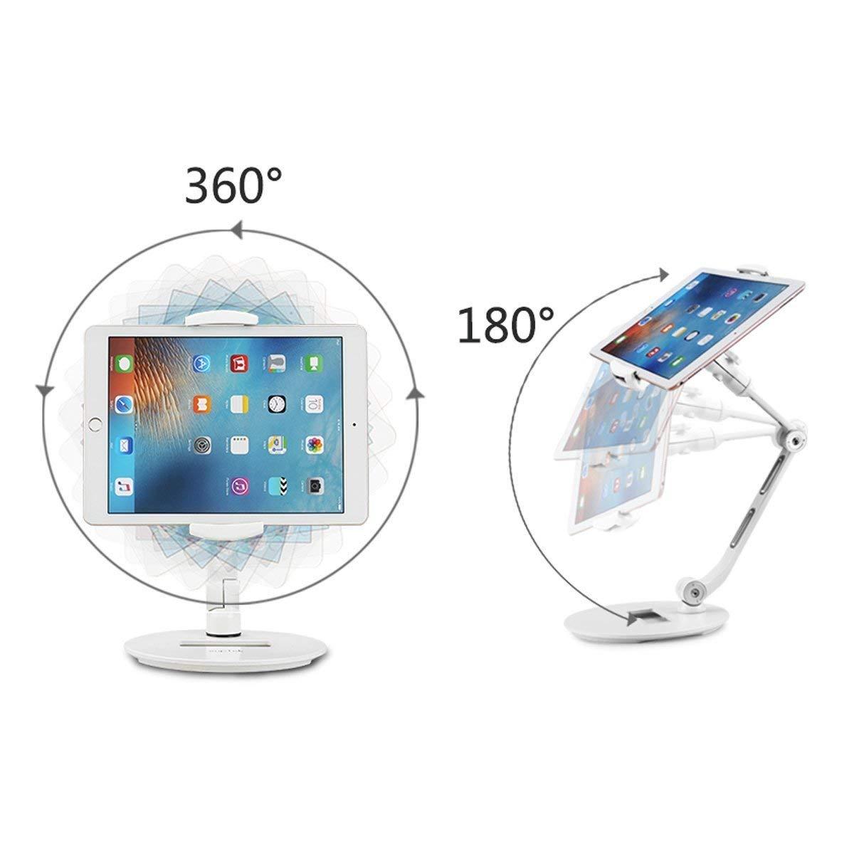 タブレット スタンド スマホ兼用 折り畳み式 360°回転可能 寝ながら 卓上ホルダー アルミニウム素材 抜群な安定感 iPad 9.7 MediaPad T5 iPhone XS Max XR Android Nintendo Switch 4.7-13インチ 対応 土台強化 滑り止め