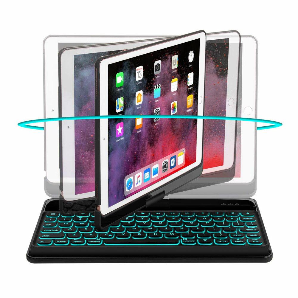 iPad Air ケース Bluetooth キーボード 360°回転  180°裏返す操作スタンド LEDバックライトキーボード 10.5インチ 2019 ipad air 3 第三世代 アイパッド エア カバー 動画視聴 タイピング タブレット対応 ケース カバー オートスリープ機能 New iPad Air 2019