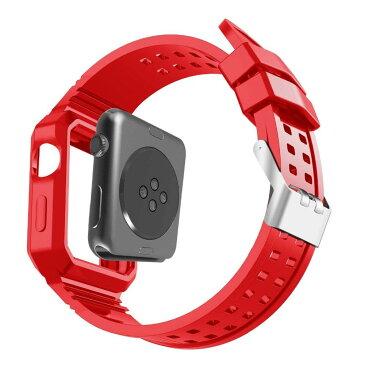 apple watch バンド カバー 一体型 防水性 耐汗性 42mm 38mm Series 1 2 3 対応 アップルウォッチ ステンレス 衝撃吸収 ベルト ブランド ポリカーボネート ハードシェル 柔軟 TPU