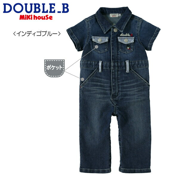 1aaf9047f6ad9 B) 8オンスデニムの半袖カバーオール(S、M) キッズ・ベビー・マタニティ ベビー ベビー服 カバーオール・ロンパース