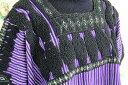 チュニック 刺繍 ウィピル メキシコ刺繍ブラウス ハンドメイド・フラワー・パープル ストライプ ギフト ラッピング 母の日 2