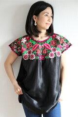 ウィピルメキシコクロスステッチ刺繍ブラウスハンドメイド【ギフト】【ラッピング】【結婚祝い】