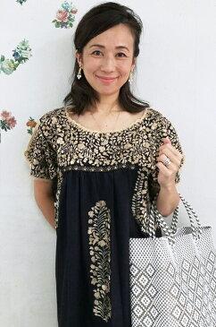 ワンピース レディース 刺繍 ブラック ロングワンピース 結婚式 メキシコ刺繍 サンアントニーノ フォークロアギフト ラッピング対応可 送料無料