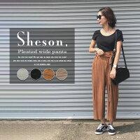 【Sheson】リボン付きプリーツガウチョパンツウェストゴムリボン夏レディースガウチョパンツ