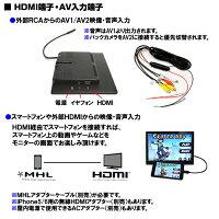12V/24V1024x600高解像度9インチオンダッシュLEDモニター/オートディマー,HDMI,スピーカー内蔵/iPhoneスマホ対応
