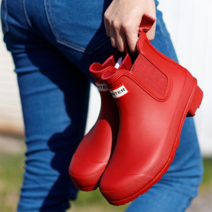 【お買物マラソン×当店P5倍】 HUNTER WOMENS ORIGINAL CHELSEA(オリジナルチェルシー)ハンター レディース レインブーツ 長靴 軽量 ブラック ネイビー カーキ レッド SS10画像