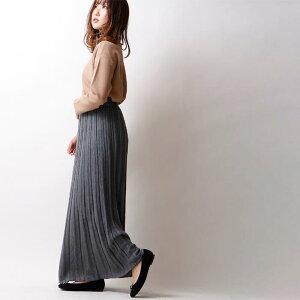 【SALE★53%OFF】ニットプリーツスカート womens Bou Jeloud ブージュルード フリーサイズ 黒 チャコール グリーン