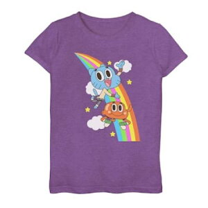 LICENSED CHARACTER キャラクター ダーウィン Tシャツ 紫 パープル ヘザー 【 PURPLE HEATHER LICENSED CHARACTER AMAZING WORLD OF GUMBALL DARWIN RAINBOW JUMP TEE 】 キッズ ベビー マタニティ トップス Tシャツ