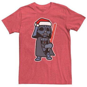 UNBRANDED グラフィック Tシャツ 赤 レッド 【 RED UNBRANDED STAR WARS DARTH VADER SABER SANTA HAT CHRISTMAS GRAPHIC TEE HTHR 】 メンズファッション トップス Tシャツ カットソー
