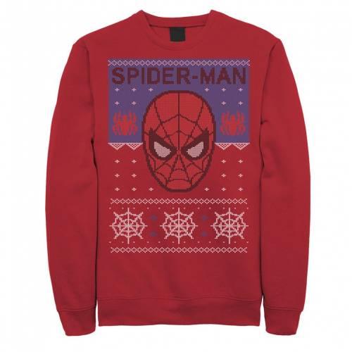 トップス, Tシャツ・カットソー MARVEL RED MARVEL SPIDERMAN MASK UGLY CHRISTMAS FLEECE