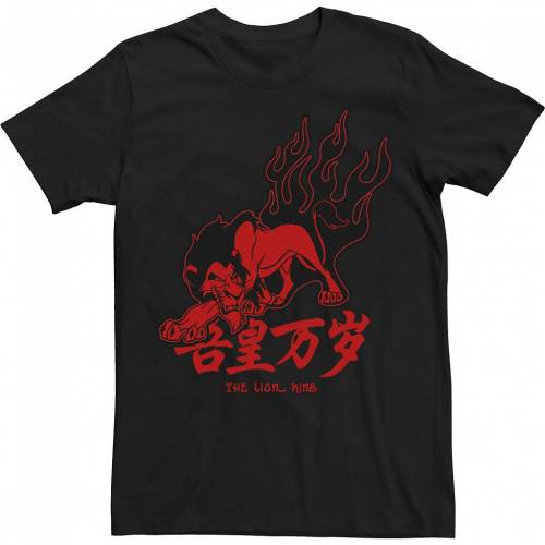 トップス, Tシャツ・カットソー LICENSED CHARACTER T RED LICENSED CHARACTER LION KING SCAR KANJI TEE BLACK