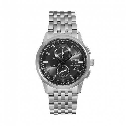 腕時計, メンズ腕時計 CITIZEN WATCH SILVER CITIZEN ECODRIVE WORLD AT STAINLESS STEEL CHRONOGRAPH AT811053E TONE