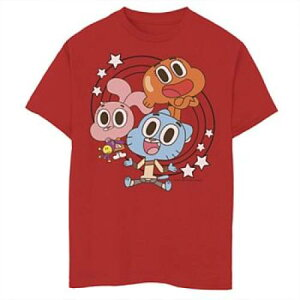 LICENSED CHARACTER キャラクター グラフィック Tシャツ 赤 レッド 【 RED LICENSED CHARACTER CARTOON NETWORK THE AMAZING WORLD OF GUMBALL GROUP SHOT STARS GRAPHIC TEE 】 キッズ ベビー マタニティ トップス Tシャツ