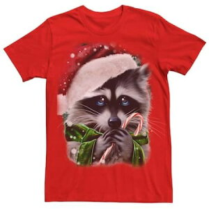 LICENSED CHARACTER キャラクター クリスマス グラフィック Tシャツ 赤 レッド 【 RED LICENSED CHARACTER RACCOON SAD EYES CHRISTMAS GRAPHIC TEE 】 メンズファッション トップス Tシャツ カットソー