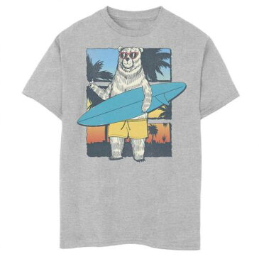 UNBRANDED グラフィック Tシャツ ヘザー 【 HEATHER UNBRANDED BEAR WITH SURFBOARD GRADIENT GRAPHIC TEE ATHLETIC 】 キッズ ベビー マタニティ トップス Tシャツ