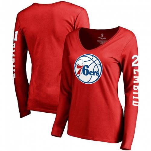トップス, Tシャツ・カットソー  V T RED 76ERS TEAM SLEEVE FANATICS BRANDED JOEL EMBIID IDOL NAME NUMBER VNECK TSHIRT 76R