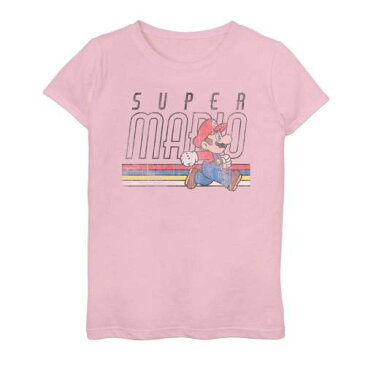 LICENSED CHARACTER キャラクター ラン Tシャツ ピンク 【 PINK LICENSED CHARACTER NINTENDO SUPER MARIO DISTRESSED RUN POSTER TEE 】 キッズ ベビー マタニティ トップス Tシャツ