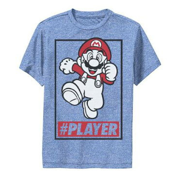 LICENSED CHARACTER キャラクター ラン グラフィック Tシャツ ヘザー 【 HEATHER LICENSED CHARACTER SUPER MARIO PLAYER SIMPLE RUN PORTRAIT GRAPHIC TEE ROYAL 】 キッズ ベビー マタニティ トップス Tシャツ