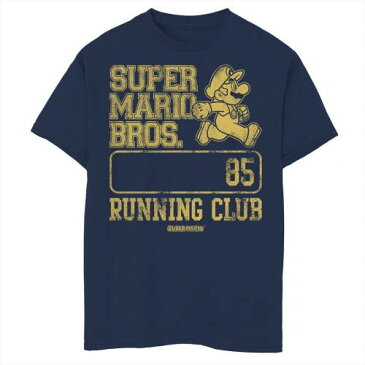 LICENSED CHARACTER キャラクター クラブ グラフィック Tシャツ 紺色 ネイビー BROS. '85 【 LICENSED CHARACTER SUPER MARIO RUNNING CLUB GRAPHIC TEE NAVY 】 キッズ ベビー マタニティ トップス Tシャツ