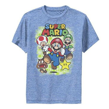 LICENSED CHARACTER キャラクター グラフィック Tシャツ ヘザー 【 HEATHER LICENSED CHARACTER SUPER MARIO GROUP SHOT RUNNING GRID PORTRAIT GRAPHIC TEE ROYAL 】 キッズ ベビー マタニティ トップス Tシャツ