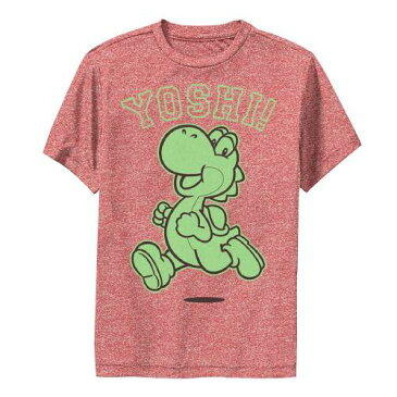 LICENSED CHARACTER キャラクター 緑 グリーン ラン クラシック グラフィック Tシャツ 赤 レッド ヘザー 【 GREEN RED HEATHER LICENSED CHARACTER NINTENDO SUPER MARIO YOSHI RUN CLASSIC GRAPHIC TEE 】 キッズ ベビー