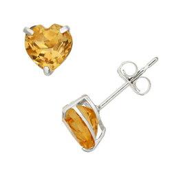 白色 ホワイト ゴールド イヤリング 橙 オレンジ 【 ORANGE DESIGNS BY GIOELLI CITRINE 10K WHITE GOLD HEART STUD EARRINGS 】
