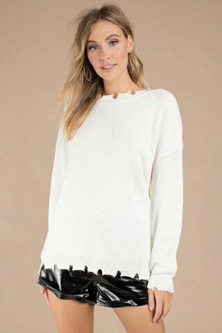 TOBI レディースファッション トップス ニット セーター 【 Sandy Distressed Sweater 】 White