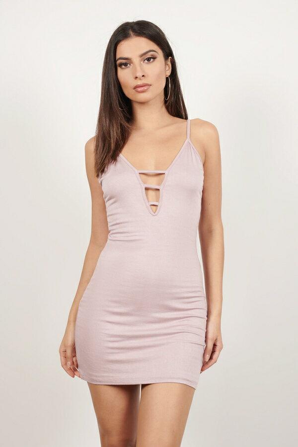 レディースファッション, ドレス  TOBI TAKE THE NIGHT STRAPPY BODYCON DRESS IN OLIVE MAUVE
