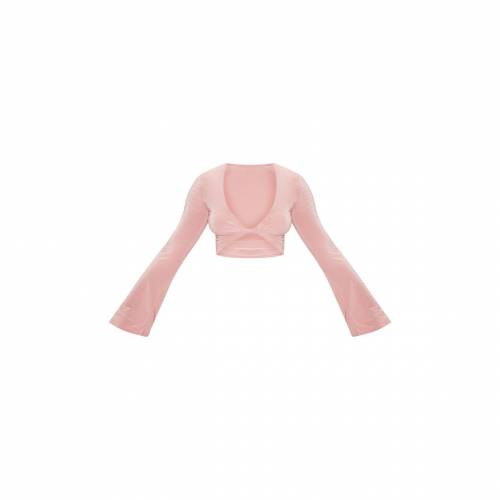 AMBREDES スリーブ ローズ 【 SLEEVE ROSE AMBREDES PRETTYLITTLETHING SLINKY TWIST FRONT FLUTE BLOUSE DUSTY 】 レディースファッション トップス シャツ ブラウス