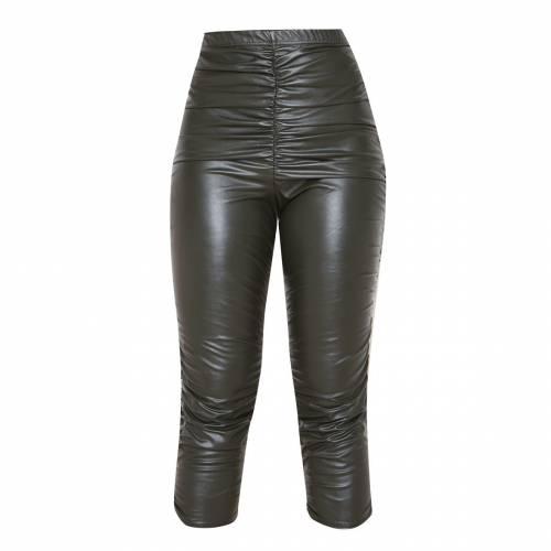 靴下・レッグウェア, スパッツ・レギンス APPARELT Prettylittlething Faux Leather Ruched Cropped Legging Khaki