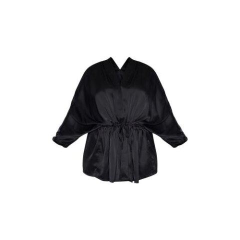 4FASHION ウーブン レディースファッション トップス シャツ ブラウス 【 Prettylittlething Plus Textured Woven Tie Waist Blouse 】 Black