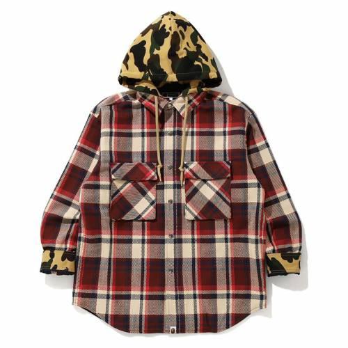 メンズファッション, コート・ジャケット  A BATHING APE MEN BAPE CHECK HOODIE JACKET RED