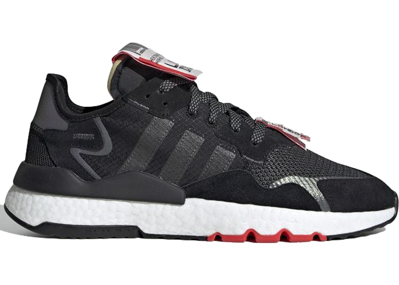 メンズ靴, スニーカー  ADIDAS NITE JOGGER JET SET LONDON CORE BLACK CLOUD WHITE HIRES RED