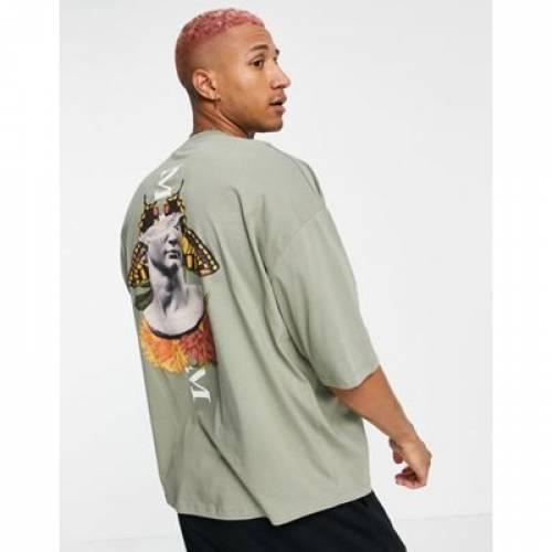 トップス, Tシャツ・カットソー  ASOS DESIGN T ASOS DESIGN OVERSIZED TSHIRT IN KHAKI ORGANIC COTTON WITH STATUE BACK PRINT VETIVER
