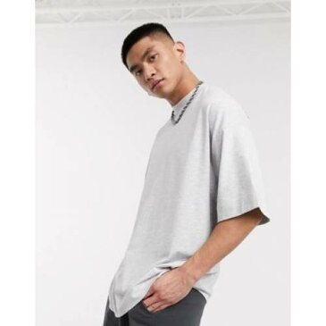 Tシャツ ロゴ 灰色 グレ メンズファッション トップス カットソー 【 COLLUSION OVERSIZED TSHIRT WITH LOGO PRINT IN GREY MARL 】