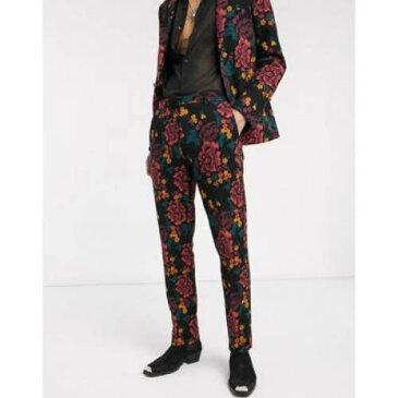 【★スーパーセール中★ 9/11深夜2時迄】ジャージ 黒 ブラック メンズファッション ズボン パンツ 【 BLACK TWISTED TAILOR JERSEY SUIT TROUSERS WITH FLORAL PRINTING IN 】