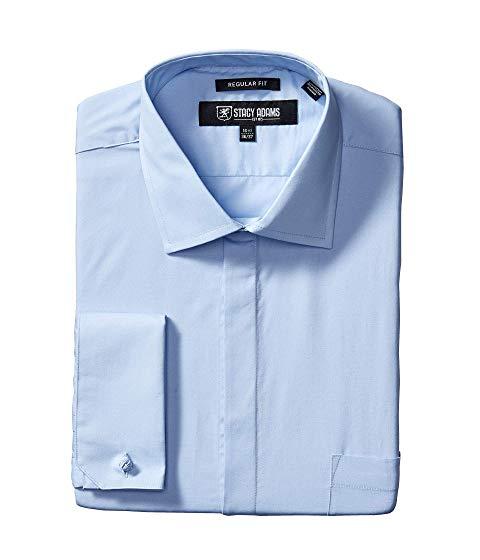STACY ADAMS ソリッド ドレス メンズファッション トップス カジュアルシャツ メンズ 【 Big And Tall 39000 Solid Dress Shirt 】 Blue