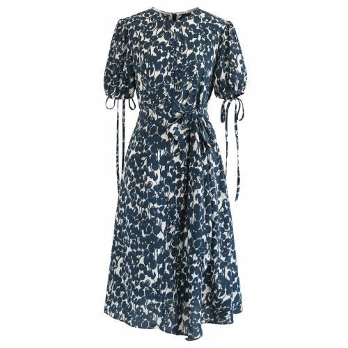 レディースファッション, ドレス  GREEN CHICWISH DARK BUDDING FLOWER PRINT CHIFFON DRESS