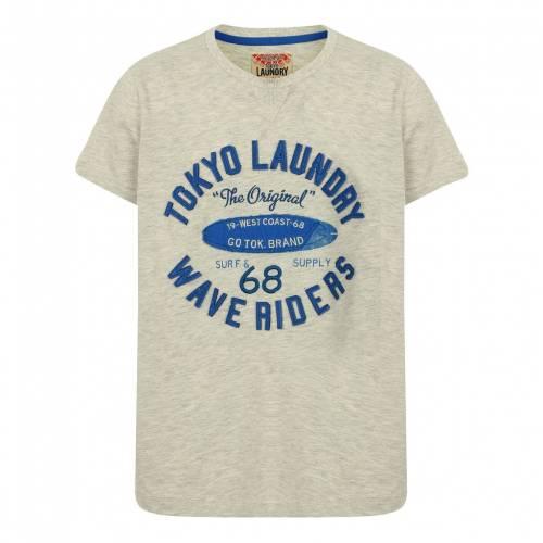 トップス, Tシャツ・カットソー TOKYO LAUNDRY T TOKYO LAUNDRY BOYS KWAVE RIDERS MOTIF TSHIRT IN OATGREY MARL KIDS GREY