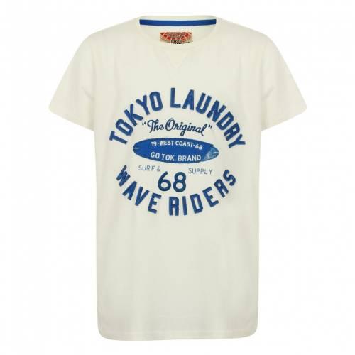トップス, Tシャツ・カットソー TOKYO LAUNDRY T TOKYO LAUNDRY BOYS KWAVE RIDERS MOTIF TSHIRT IN IVORY KIDS CREAM